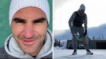 Roger Federer faz vídeo treinando na neve